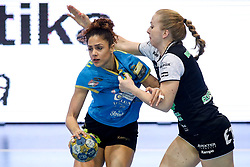 Lamprini Tsakalou of RK Krim Mercator vs Janja Rebolj of RK Zagorje during handball match between RK Zagorje and RK Krim Mercator in Final game of Slovenian Women Handball Cup 2017/18, on April 1, 2018 in Park Kodeljevo, Ljubljana, Slovenia. Photo by Matic Klansek Velej / Sportida