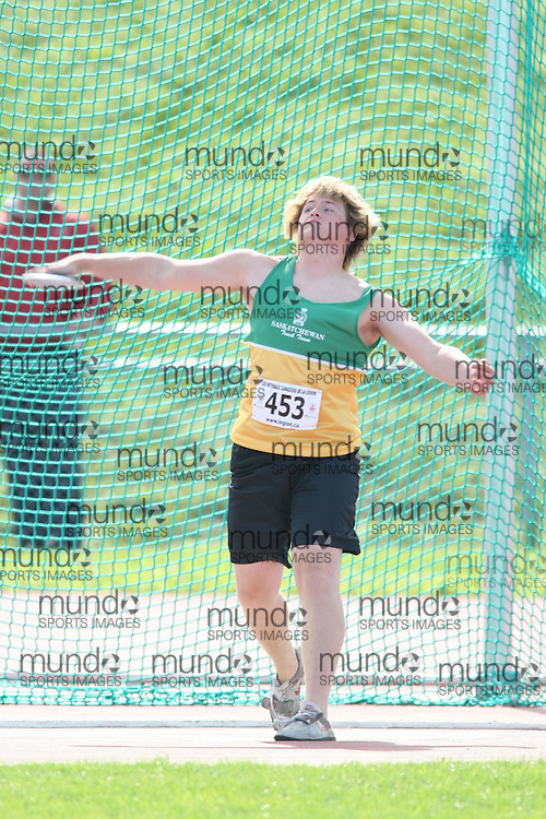 (Sherbrooke, Quebec---10 August 2008) Brandon O'Donnell competing in the youth boys discus at the 2008 Canadian National Youth and Royal Canadian Legion Track and Field Championships in Sherbrooke, Quebec. The photograph is copyright Sean Burges/Mundo Sport Images, 2008. More information can be found at www.msievents.com.