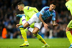 Joao Cancelo of Manchester City is tripped - Mandatory by-line: Robbie Stephenson/JMP - 01/10/2019 - FOOTBALL - Etihad Stadium - Manchester, England - Manchester City v Dinamo Zagreb - UEFA Champions League Group Stage
