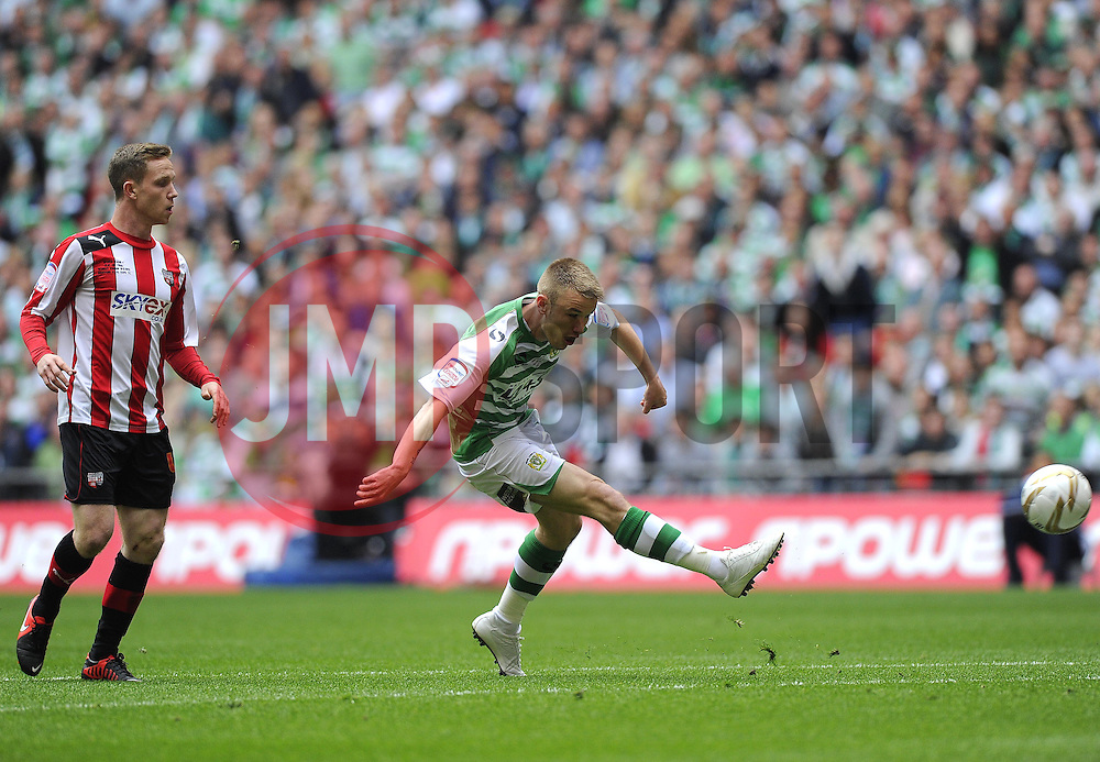 Yeovil Town's Paddy Madden opens the scoring for Yeovil - Photo mandatory by-line: Joe Meredith/JMP - Tel: Mobile: 07966 386802 19/05/2013 - SPORT - FOOTBALL - LEAGUE 1 - PLAY OFF - FINAL - Wembley Stadium - London - Brentford V Yeovil Town