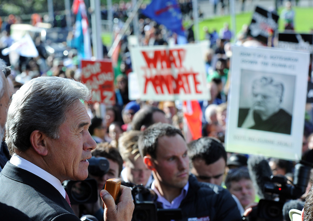 New Zealand First leader Winston Peters at the hikoi against asset sales, and oil drilling at Parilament, Wellington, New Zealand, Friday, May 04, 2012. Credit:SNPA / Ross Setford