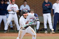 Virginia Cavaliers infielder Greg Miclat (2) bunts against VMI.  The Virginia Cavaliers Baseball Team defeated the Virginia Military Institute Keydets 5-3 at Davenport Field in Charlottesille, VA on February 27, 2007.