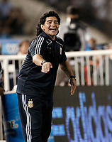 Fotball<br /> Foto: Piko Press/Digitalsport<br /> NORWAY ONLY<br /> <br /> BUENOS AIRES, ARGENTINA - MARCH 28, 2009.<br /> 2010 FIFA World Cup qualifying Soccer match between ARGENTINA and VENEZUELA in the River Plate Stadium.<br /> Here Argentine DIEGO ARMANDO MARADONA in his first official match like National Team Head Coach.