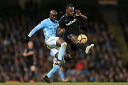 3rd December 2017 - Premier League - Manchester City v West Ham United - Eliaquim Mangala of Man City battles with Michail Antonio of West Ham - Photo: Simon Stacpoole / Offside.