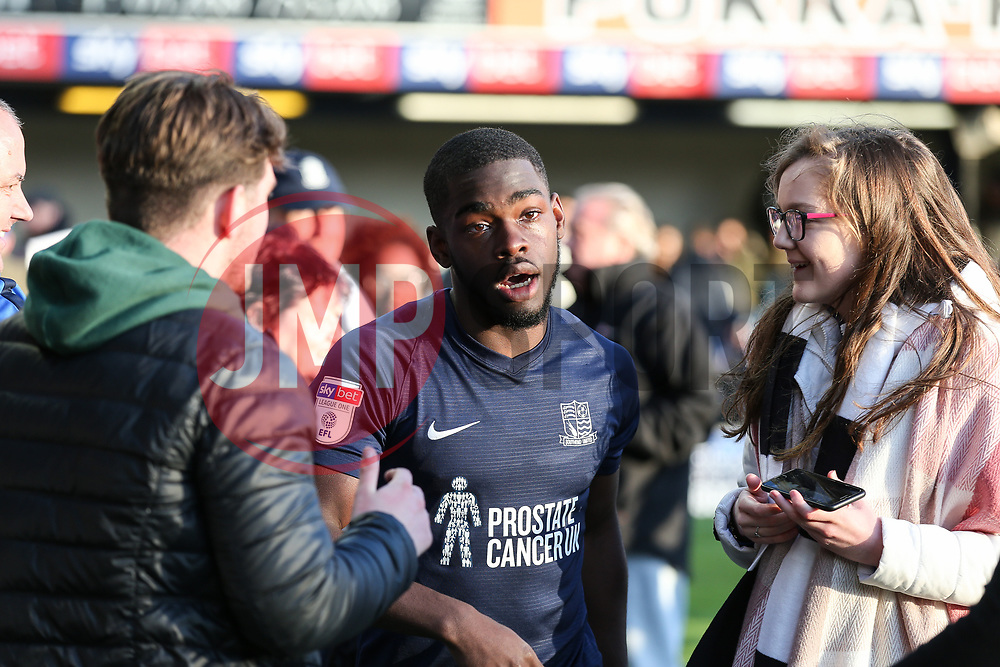 Dru Yearwood of Southend United is mobbed by fans at the final whistle - Mandatory by-line: Arron Gent/JMP - 04/05/2019 - FOOTBALL - Roots Hall - Southend-on-Sea, England - Southend United v Sunderland - Sky Bet League One
