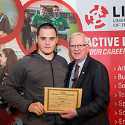24.05.2017      <br /> LIT GO4IT and GIVE Volunteer Awards 2017. Pictured receiving their GIVE Award from Prof. Vincent Cunnane, President LIT was Rodion Bessonov. Picture: Alan Place.