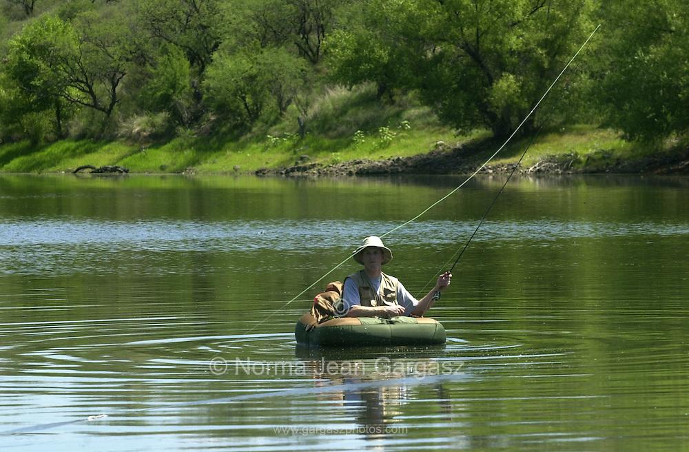 Fishing at Arivaca Lake, Arivaca, Arizona, USA.
