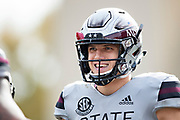 STARKVILLE, MS - NOVEMBER 17:  Nick Fitzgerald #7 of the Mississippi State Bulldogs smiles on the sidelines during a game against the Arkansas Razorbacks at Davis Wade Stadium on November 17, 2018 in Starkville, Mississippi.  The Bulldogs defeated the Razorbacks 52-6.  (Photo by Wesley Hitt/Getty Images) *** Local Caption *** Nick Fitzgerald