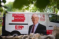 DEU, Deutschland, Germany, Rüdersdorf, 29.07.2019: Werbung an einem Auto für Brandenburgs Ministerpräsident Dr. Dietmar Woidke (SPD) bei einer Wahlkampfveranstaltung im Museumspark Rüdersdorf.