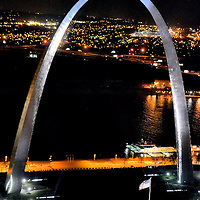 Gateway Arch from Aerial View at Night in St. Louis, Missouri<br />