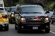 A cavalcade of official presidential vehicles approaches Winfield House, the official residence of the US Ambassador during the visit to the UK of US President, Donald Trump, on 12th July 2018, in Regent's Park, London, England.