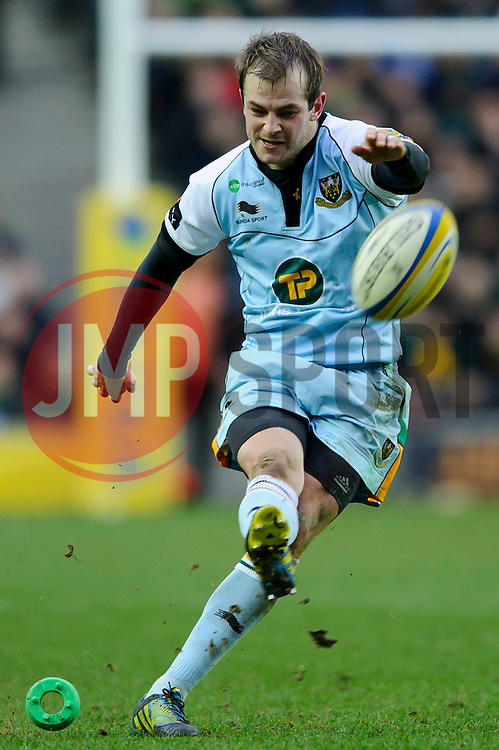 Northampton Fly-Half (#10) Stephen Myler kicks a Penalty during the first half of the match - Photo mandatory by-line: Rogan Thomson/JMP - Tel: Mobile: 07966 386802 30/12/2012 - SPORT - RUGBY - stadiummk - Milton Keynes. Saracens v Northampton Saints - Aviva Premiership.