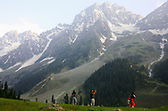 .A scenic view in Sonnamarg, in the Himalayan mountains Kashmir India, photographed by Indian tourists..