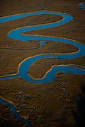 Aerial view of the Saltwater marsh along the coast of South Carolina near Charleston.