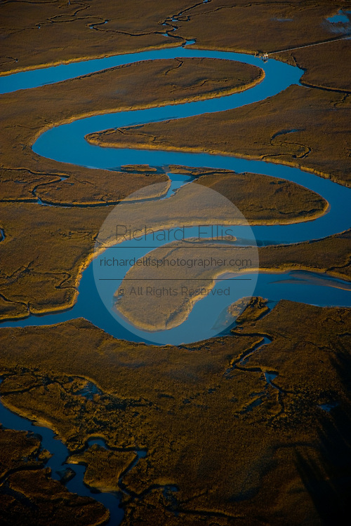 Aerial view of the Saltwater marsh along the coast of South Carolina near Charleston.