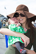 03/08/2014 Roisin Fadden from Galway and her 5 week old daughter Ciara   at the Final day of the Galway Racing Summer Festival. Photo:Andrew Downes