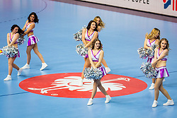 Cheerleaders during handball match between National teams of Austria and France on Day 3 in Preliminary Round of Men's EHF EURO 2018, on January 14, 2018 in Arena Zatika, Porec, Croatia. Photo by Ziga Zupan / Sportida
