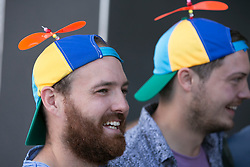 © Licensed to London News Pictures. 29_07_2015. Pictured, aussie fans in boyant mood. Cricket fans arriving at Edgbaston cricket  ground for the start of the third test against Australia. Photo credit : Dave Warren/LNP