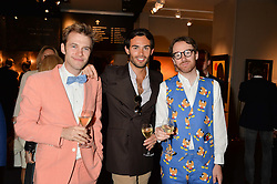 Left to right, GARRETT MOORE, MARK-FRANCIS VANDELLI and PHILIP COLBERT at the PAD London 10th Anniversary Collector's Preview, Berkeley Square, London on 3rd October 2016.