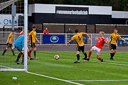 MERTHYR TYDFIL, WALES - Thursday, November 2, 2017: Wales' George Peers scores the fourth goal during an Under-18 Academy Representative Friendly match between Wales and Newport County at Penydarren Park. (Pic by David Rawcliffe/Propaganda)