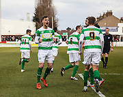 Yeovil Town striker Brandon Goodship celebrates after opening the scoring during the Sky Bet League 2 match between Dagenham and Redbridge and Yeovil Town at the London Borough of Barking and Dagenham Stadium, London, England on 27 February 2016. Photo by Bennett Dean.