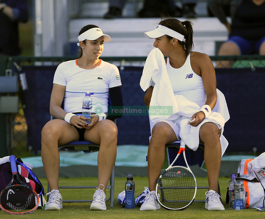 Great Britain's Heather Watson and doubles partner USA's Christina McHale during day four of the AEGON Open Nottingham at Nottingham Tennis Centre. PRESS ASSOCIATION Photo. Picture date: Thursday June 15, 2017. See PA story TENNIS Nottingham. Photo credit should read: Nigel French/PA Wire