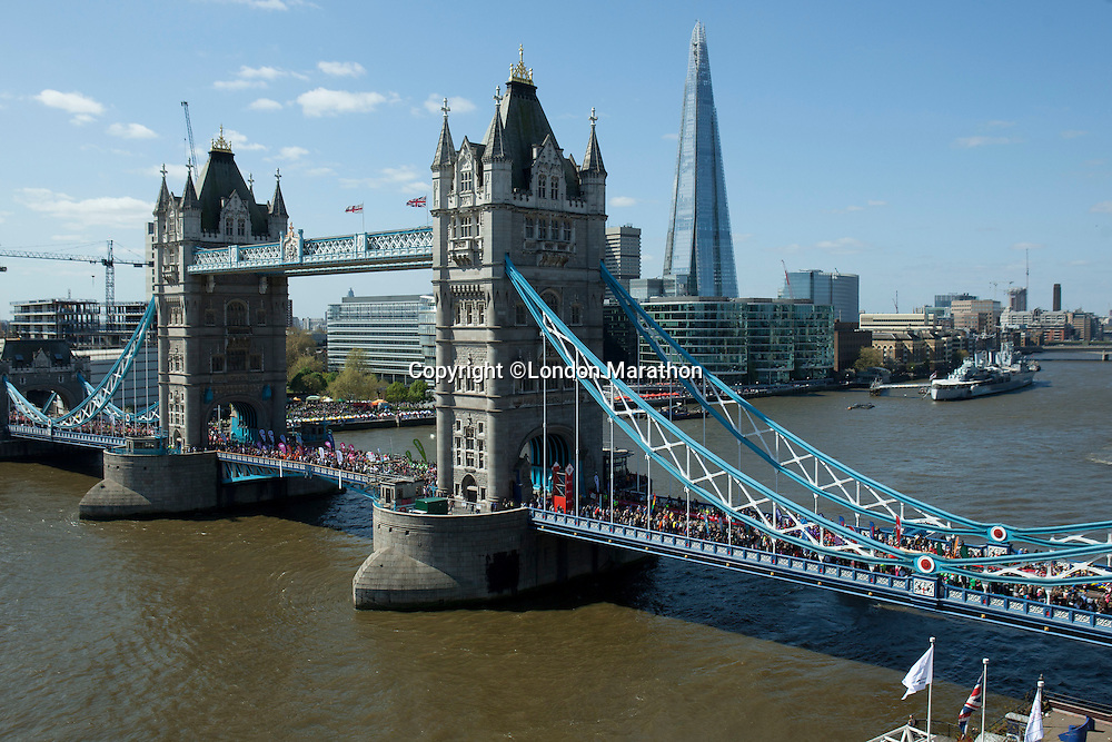 Runners at the Tower Bridge at The Virgin Money London Marathon 2014 on Sunday 13 April 2014<br /> Photo: Neil Turner/Virgin Money London Marathon<br /> media@london-marathon.co.uk