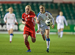 NEWPORT, WALES - Thursday, April 4, 2019: Wales' Elise Hughes (L) an Czech Republic's Simona Necidova during an International Friendly match between Wales and Czech Republic at Rodney Parade. (Pic by David Rawcliffe/Propaganda)