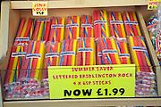Display of lettered rock sticks, Bridlington, Yorkshire, England