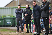 Forest Green Rovers manager, Mark Cooper and Forest Green Rovers assistant manager, Scott Lindsey during the EFL Sky Bet League 2 match between Forest Green Rovers and Mansfield Town at the New Lawn, Forest Green, United Kingdom on 24 March 2018. Picture by Shane Healey.