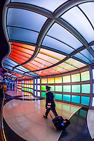 """An airline pilot walks through the tunnel, passing """"Sky's the Limit"""" by artist Michael Hayden at O'Hare International Airport, Chicago, Illinois USA."""