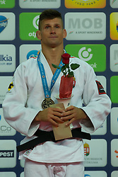 Gold medalist Miklos Ungvari of Hungary attends the award ceremony for men's -73 kg category at Grand Prix Budapest 2015 in Budapest, Hungary on June 13, 2015. EXPA Pictures © 2015, PhotoCredit: EXPA/ Photoshot/ Attila Volgyi<br /> <br /> *****ATTENTION - for AUT, SLO, CRO, SRB, BIH, MAZ only*****