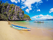 The white-sand beaches in El Nido, which is a Philippine municipality on Palawan island.