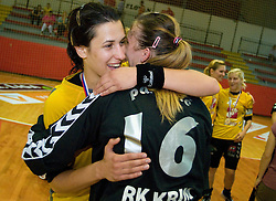 Andrea Lekic and Amra Pandzic celebrate at the Final handball game of the Slovenian Women handball Championship between RK Krim Mercator and RK Olimpija when Krim Mercator won the Championship and became Slovenian National Champion, on May 23, 2009, Kodeljevo, Ljubljana, Slovenia.  (Photo by Klemen Kek / Sportida)