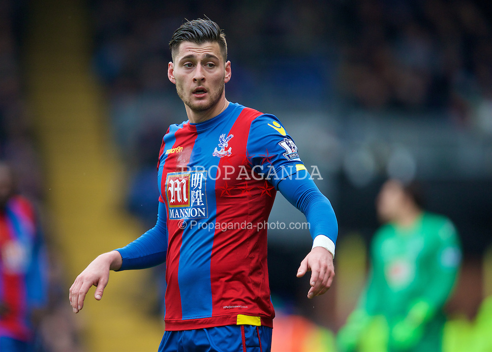 LONDON, ENGLAND - Sunday, March 6, 2016: Crystal Palace's Joel Ward in action against Liverpool during the Premier League match at Selhurst Park. (Pic by David Rawcliffe/Propaganda)