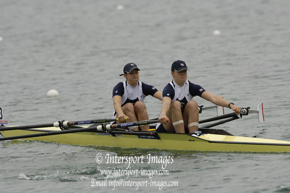 Munich, GERMANY, 2006, GBR W2X Bow Annie Vernon, Anna Bebington, FISA, Rowing, World Cup,  on the Olympic Regatta Course, Munich, Fri. 26.05.2006. © Peter Spurrier/Intersport-images.com,  / Mobile +44 [0] 7973 819 551 / email images@intersport-images.com.[Mandatory Credit, Peter Spurier/ Intersport Images] Rowing Course, Olympic Regatta Rowing Course, Munich, GERMANY