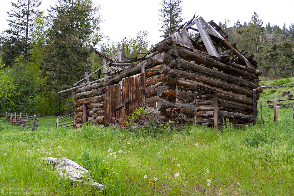 An abandoned cabin along Green Mountain Road just outside of Penticton, British Columbia, Canada