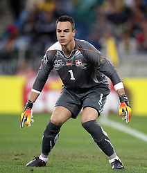 Switzerland goalkeeper Diego BENAGLIO during the 2010 FIFA World Cup South Africa Group H match between Spain and Switzerland at Durban Stadium on June 16, 2010 in Durban, South Africa.