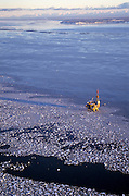 Alaska, Cook Inlet. spring, oil production platform,