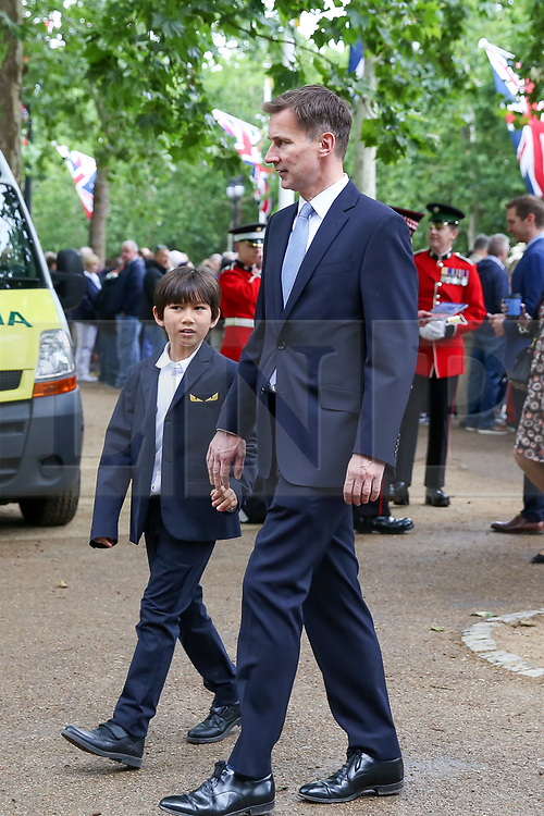 NOTE TO EDITORS :Young children are pictured © Licensed to London News Pictures. 08/06/2019. London, UK. Jeremy Hunt - Foreign Secretary arrives with his children for Trooping the Colour ceremony to marks the 93rd birthday of Queen Elizabeth II, Britain's longest reigning monarch. Photo credit: Dinendra Haria/LNP