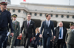 26.10.2018, Heldenplatz, Wien, AUT, Nationalfeiertag und Angelobung neuer Rekruten. im Bild Vizekanzler Heinz-Christian Strache (FPÖ) und Bundeskanzler Sebastian Kurz (ÖVP) // Austrian Vice Chancellor Heinz-Christian Strache and Austrian Federal Chancellor Sebastian Kurz during Austrian National Day at Heldenplatz in Vienna, Austria on 2018/10/26. EXPA Pictures © 2018, PhotoCredit: EXPA/ Michael Gruber