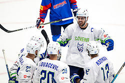 Players of Slovenia celebrate during ice hockey match between South Korea and Slovenia at IIHF World Championship DIV. I Group A Kazakhstan 2019, on April 30, 2019 in Barys Arena, Nur-Sultan, Kazakhstan. Photo by Matic Klansek Velej / Sportida