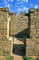 T-shaped doors that enter the rooms of the Anasazi dwellings.  Aztec Ruins National Monument.  New Mexico.
