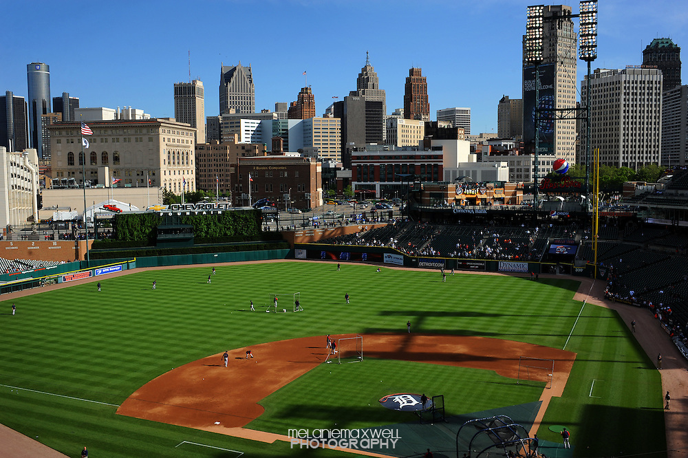 The Detroit skyline is seen as a backdrop to warm ups at Comerica Park home to the Detroit Tigers in Detroit, Michigan. Melanie Maxwell