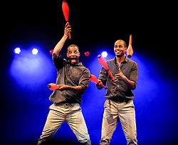 Pictured: Bibi and Bichu Tesfamariam from Circus Abyssinia (Ethiopia)<br /> <br /> Performers from across the globe came together at the Edinburgh Festival to mark the 250th anniversary of circus performances.<br /> <br /> &copy; Dave Johnston / EEm