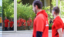 BELGRADE, SERBIA - Sunday, June 11, 2017: Wales players during a team walk around the Hyatt Regency Hotel before the 2018 FIFA World Cup Qualifying Group D match between Wales and Serbia. (Pic by David Rawcliffe/Propaganda)