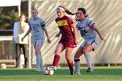04 November 2016:  Molly Lear(11), ivien Schultz(13) and Colleen Dierkes(24) during an NCAA Missouri Valley Conference (MVC) Championship series women's semi-final soccer game between the Loyola Ramblers and the Evansville Purple Aces on Adelaide Street Field in Normal IL