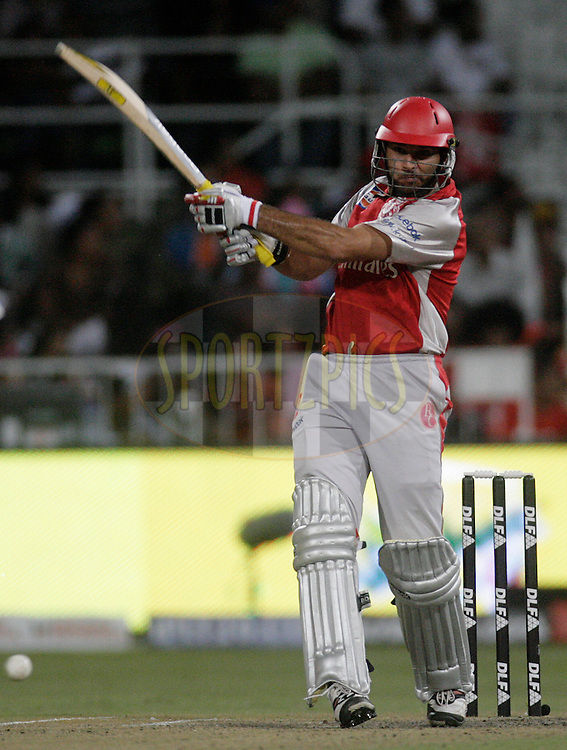 DURBAN, SOUTH AFRICA - 1 May 2009. Yuvraj Singh plays a shot during the IPL Season 2 match between Kings X1 Punjab and the Royal Challengers Bangalore held at Sahara Stadium Kingsmead, Durban, South Africa..