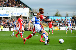 Rory Gaffney of Bristol Rovers jostles for the ball with Aaron Tshibola of Milton Keynes Dons - Mandatory by-line: Dougie Allward/JMP - 28/10/2017 - FOOTBALL - Memorial Stadium - Bristol, England - Bristol Rovers v Milton Keynes Dons - Sky Bet League One