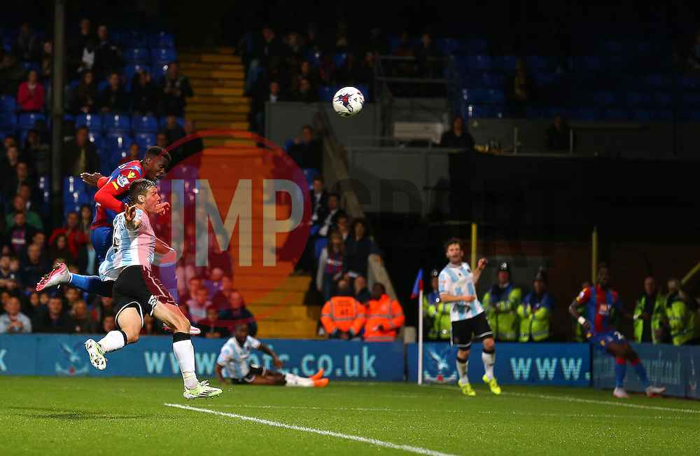 Wilfried Zaha of Crystal Palace scores to make it 4-1 - Mandatory byline: Paul Terry/JMP - 07966386802 - 25/08/2015 - FOOTBALL - Selhurst Park -London,England - Crystal Palace v Shrewsbury town - Capital One Cup - Second Round